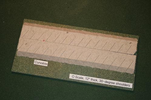 O Scale Roadbed, 6.4mm Branchline, 30-degree shoulders-Curvable