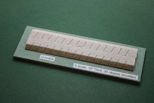 S Scale Roadbed, 7mm mainline, 30-degree shoulders-curvable