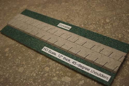 HO Scale Roadbed, 3.5mm branchline, 45-degree shoulders-curvable