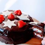 Chocoladebiscuit met aardbeien