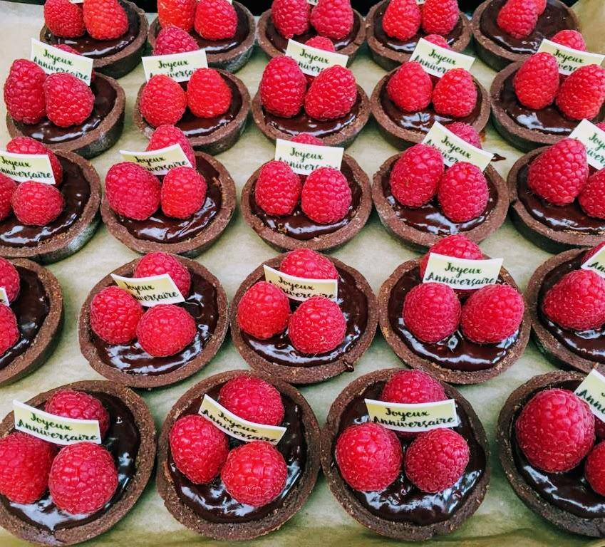 Chocoladetaartjes met framboos