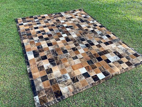 Brindle patchwork cowhide mat 06