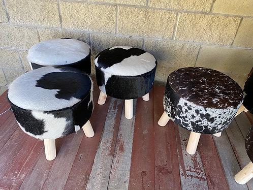 Cowhide foot stools