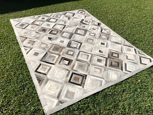 Chevron diamond patchwork cowhide rug