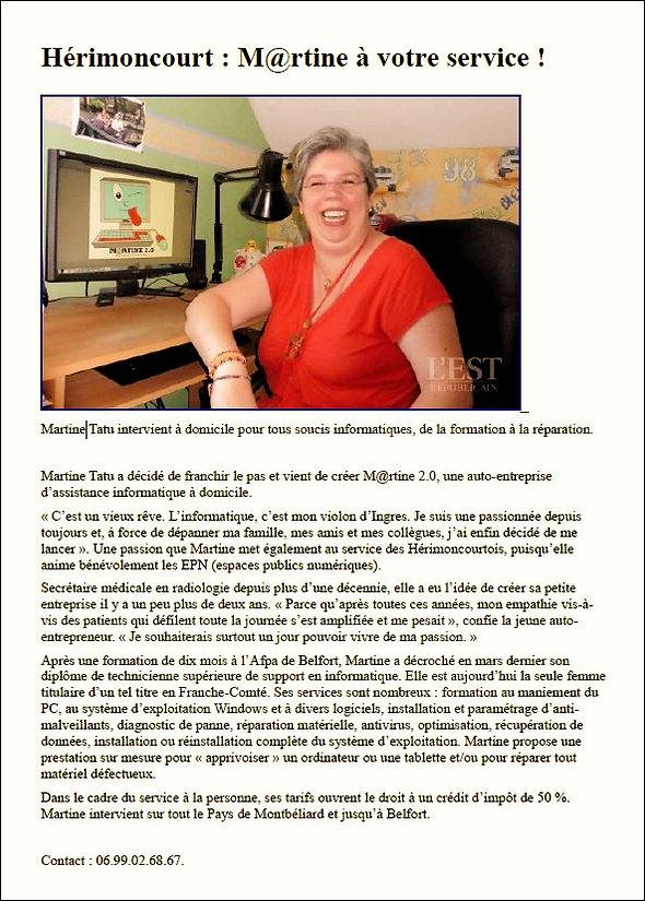Martine tatu 2.0 Article paru dans L'Est Républicain du 26 juillet 2015