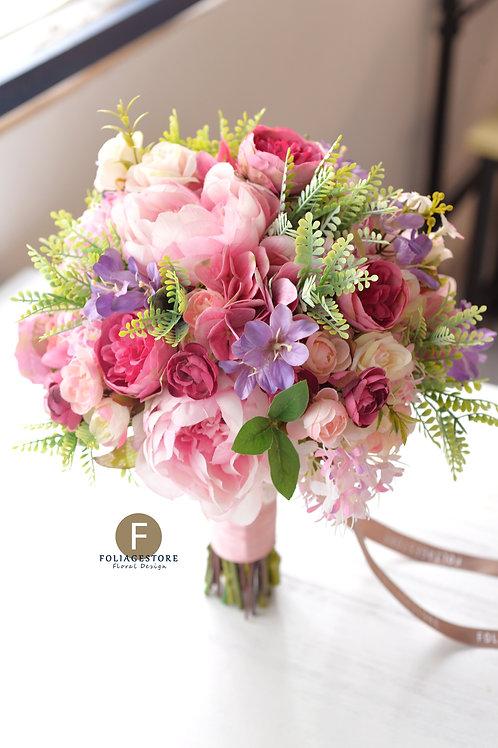 牡丹玫瑰絲花球 - 桃紅 x 粉 x 紫系列