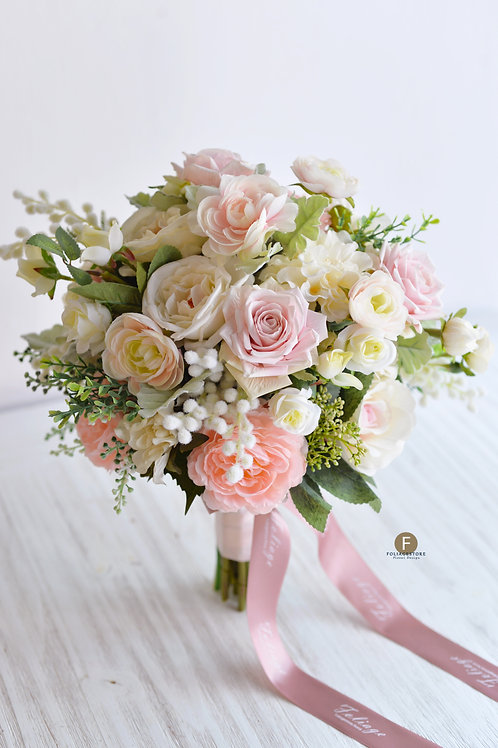 庭園玫瑰絲花球 - 淡粉 X 米白系列