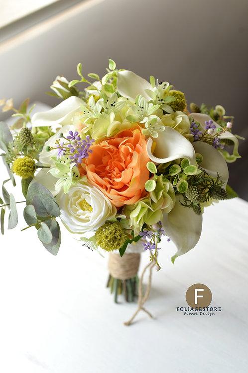 馬蹄蘭牡丹絲花球 - 純白 X 橙 X 森林系列