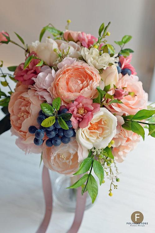 牡丹玫瑰絲花球 - 橙粉 X 淺粉系列