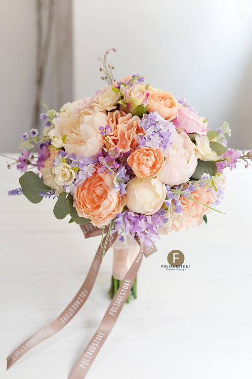 牡丹玫瑰絲花球 - 橙粉系列