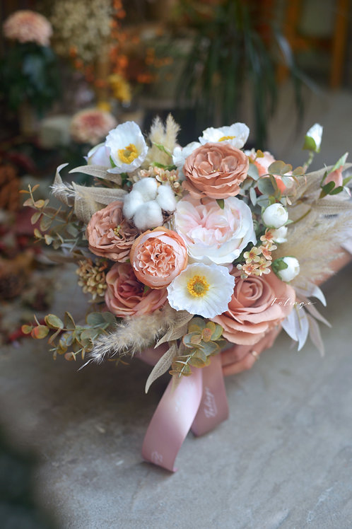 "庭園玫瑰 罌粟花 絲花球 - Earth Peach 9"""
