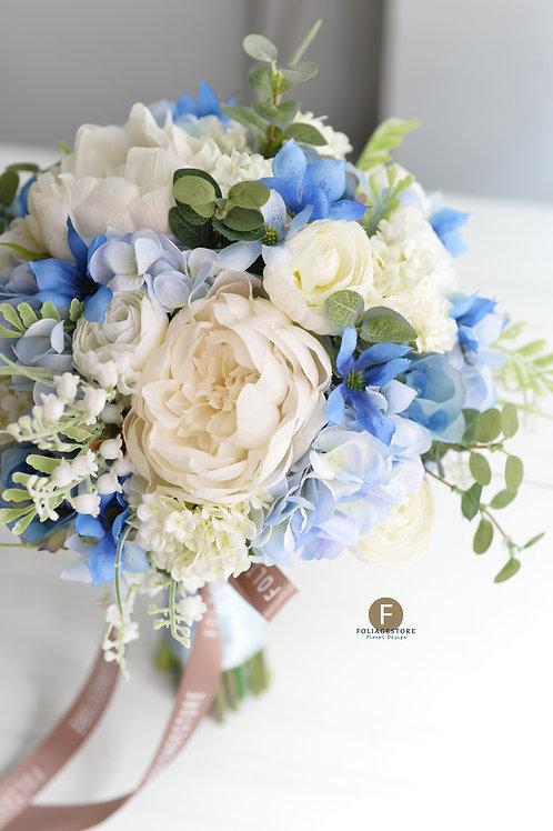牡丹繡球絲花球 - 淡藍 X 白系列