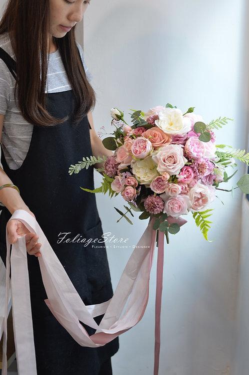 歐式玫瑰牡丹絲花球 - 祼粉系列