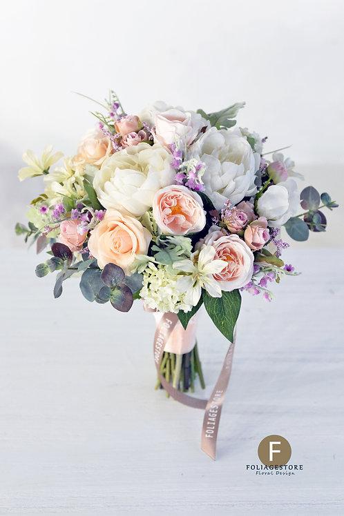 牡丹庭園玫瑰絲花球 - 米白 X 橙粉系列