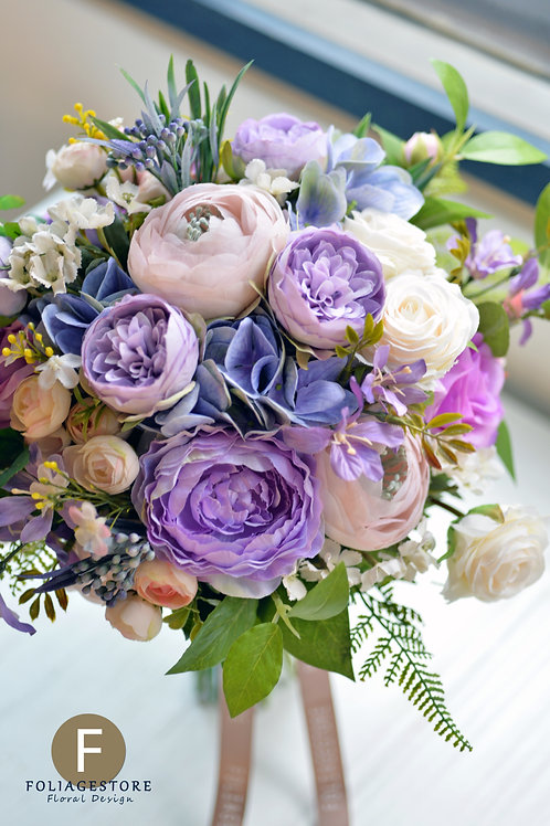 庭園玫瑰繡球絲花球 - 紫色 X 淺粉復古系列