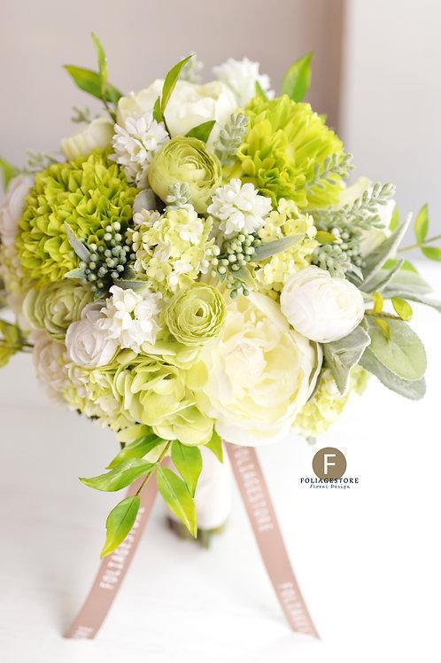 牡丹繡球菊絲花球 - 翠綠 X 白系列