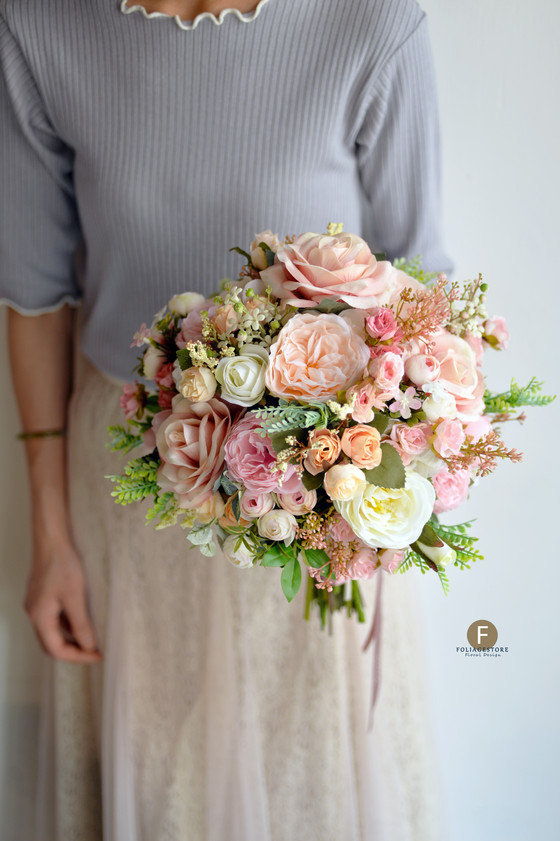 [Artificial Bouquet]  玫瑰牡丹絲花球 - 紅 X 粉系列