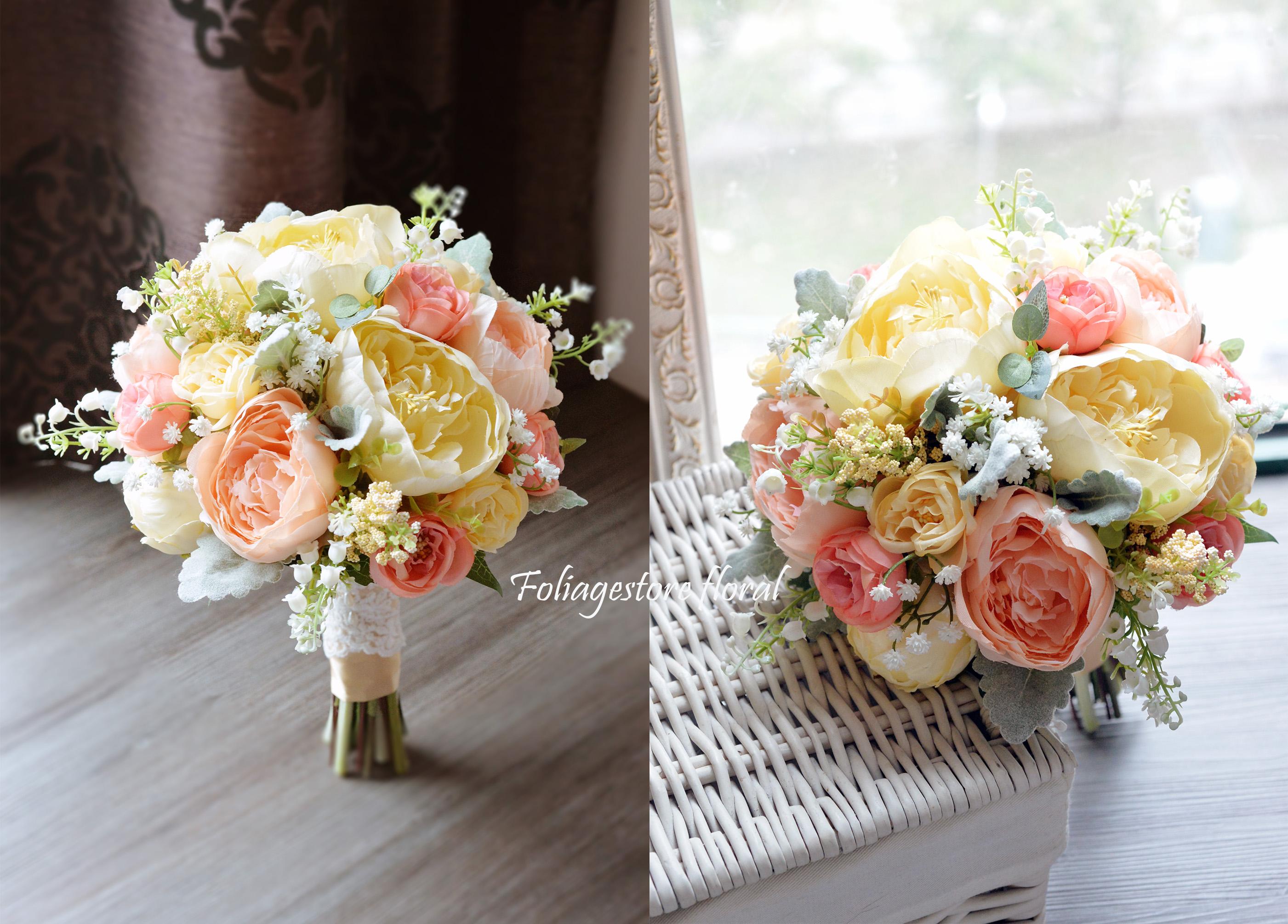 橙黃及香檳色系列_絲花球25