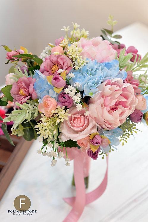 牡丹玫瑰絲花球 - 粉紅 X 藍系列