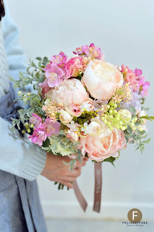 牡丹櫻花絲花球 - 橙粉 X 粉紅系列
