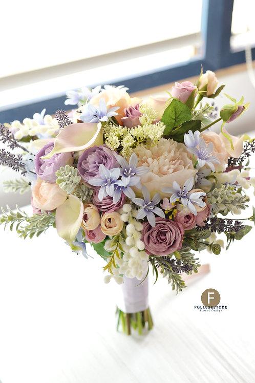牡丹庭園玫瑰絲花球 - 紫藍 X 香檳系列