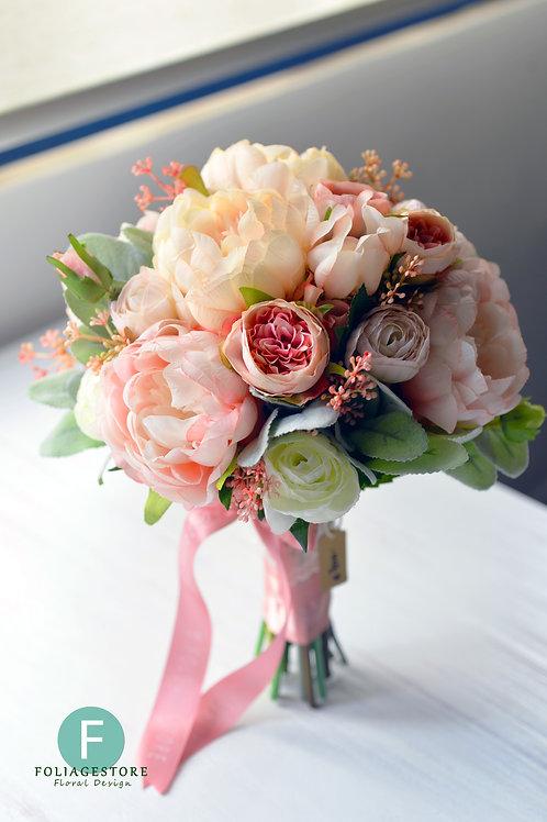 牡丹小庭園玫瑰絲花球 - 香檳粉 X 粉紅 X 蝦肉淺白系列