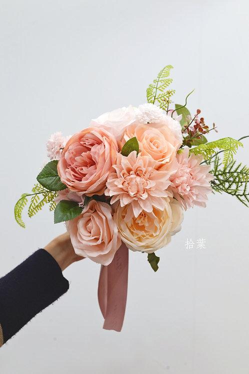 """庭園玫瑰絲花球 - Peach 系列 (6-7"""")"""