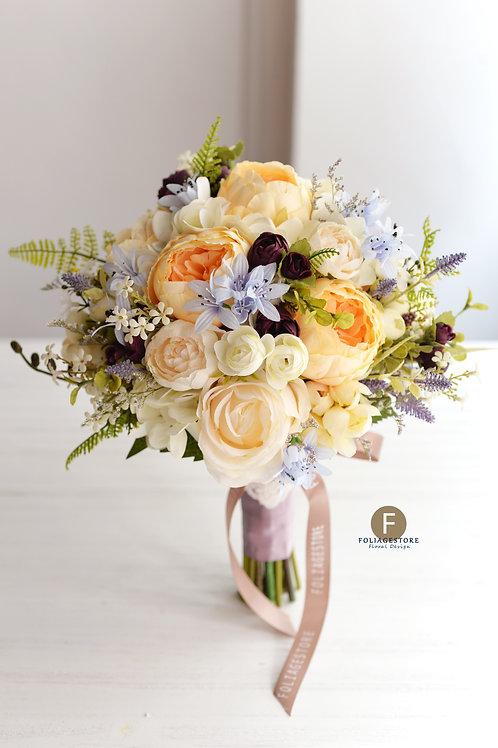 庭園玫瑰牡丹絲花球 - 香檳,白,紫藍 系列