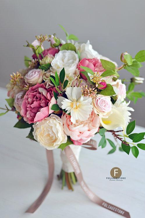 牡丹庭園玫瑰絲花球 - 米白 X 桃粉系列