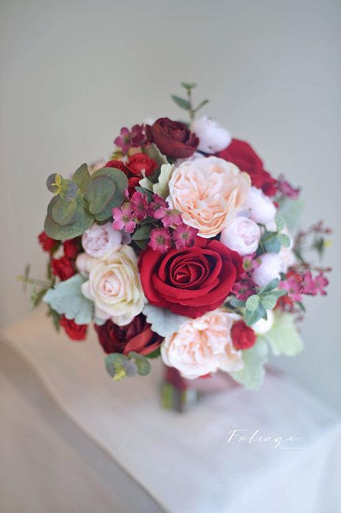 庭園玫瑰絲花球 - 酒紅 / Champagne