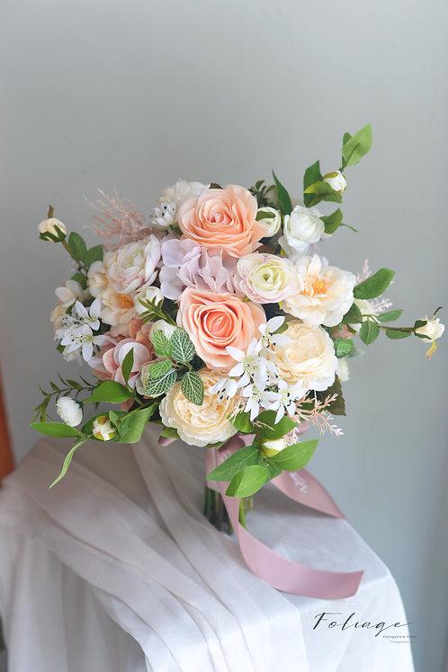 牡丹玫瑰絲花球 - Champagne