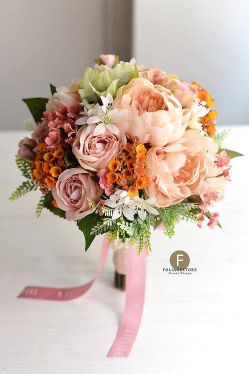 牡丹玫瑰絲花球 -  粉橙系列