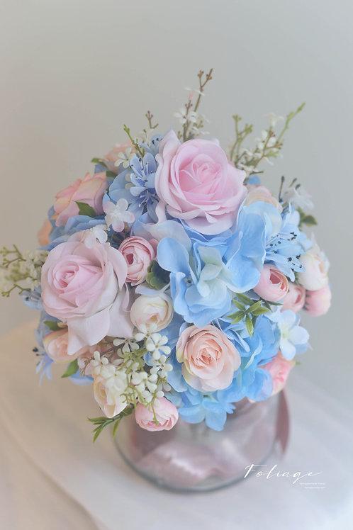 """玫瑰繡球絲花球 -  粉藍系列 (7"""")"""