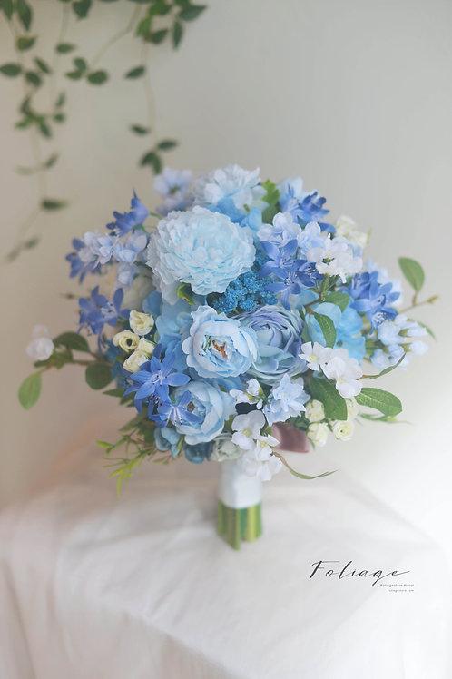牡丹玫瑰絲花球 - Ocean Blue