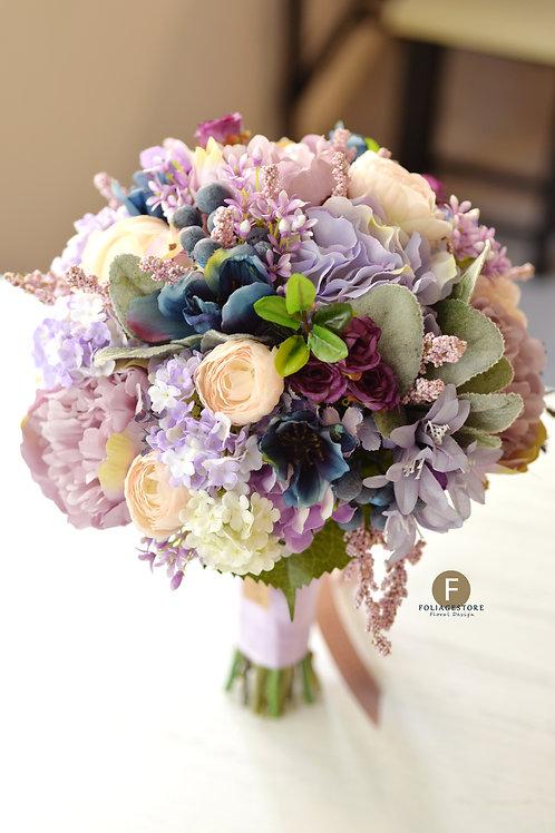 牡丹繡球絲花球 - 紫色 X 藍粉復古系列