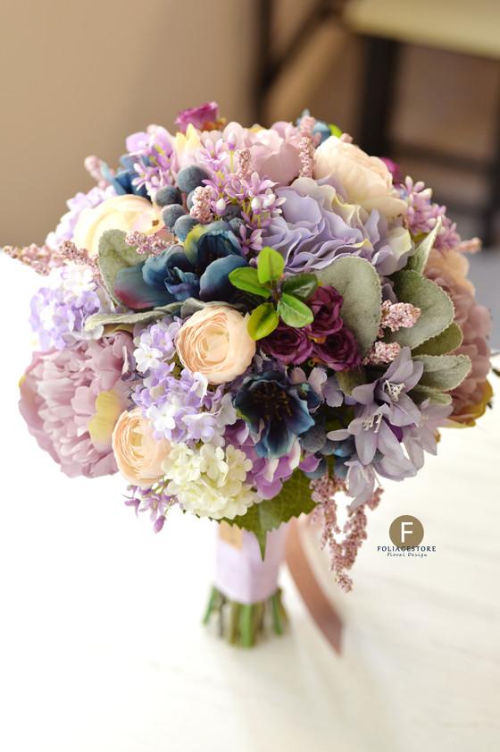 新花球- 牡丹繡球絲花球 - 紫色 X 藍粉復古系列