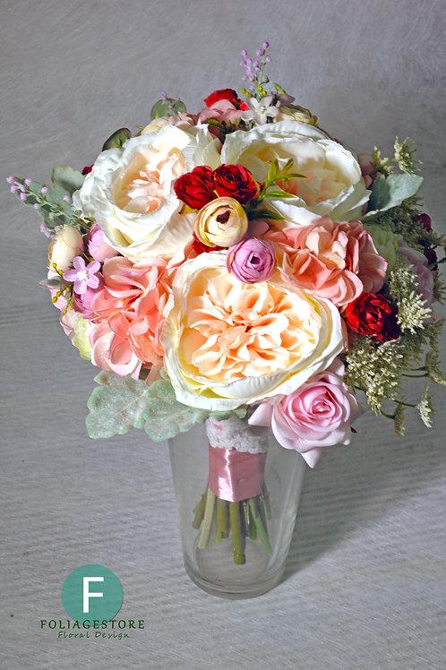庭園玫瑰絲花球 - 香檳粉 X 白 X 紅系列