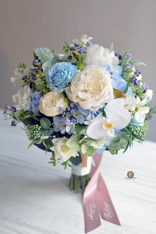 牡丹庭園玫瑰絲花球 - 白 X湖水藍系列