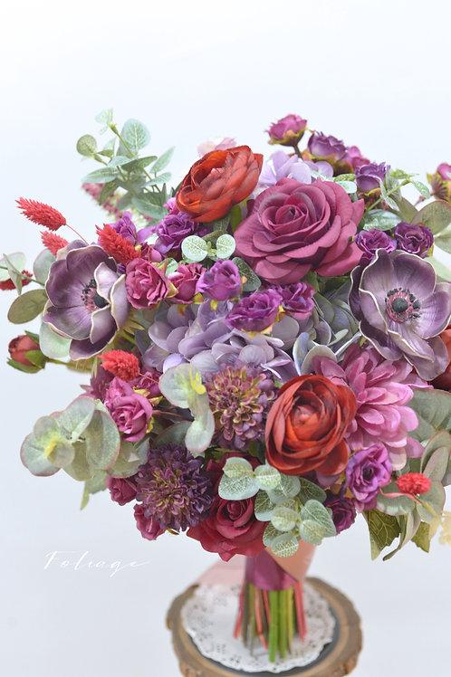 """蒙羅麗莎玫瑰絲花球 - 紫紅 9"""""""