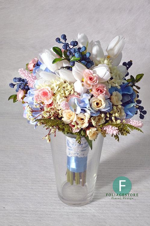 鬱金香絲花球 - 藍 x 白 x 粉系列