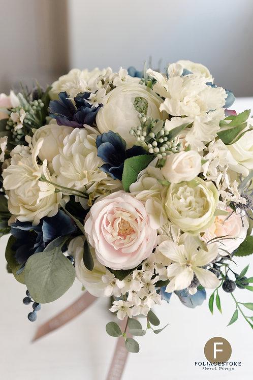 玫瑰小牡丹絲花球 - 藍 X 白 裸粉Western style系列