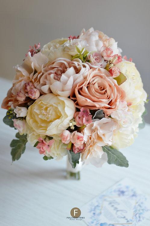 牡丹玫瑰絲花球 - 米白 X 復古系列