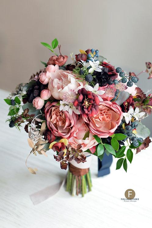 大牡丹玫瑰絲花球 - 酒紅色 X 藍粉復古系列