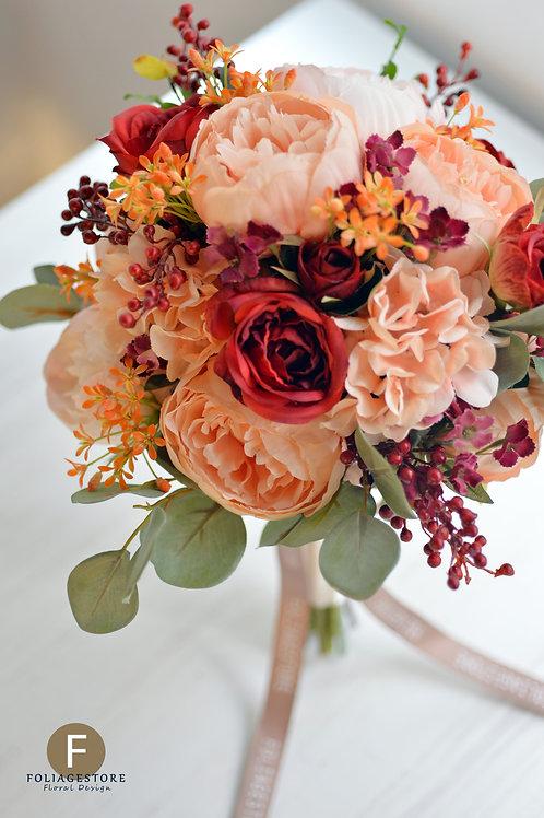 牡丹繡球玫瑰絲花球 - 橙粉 X 橙紅系列