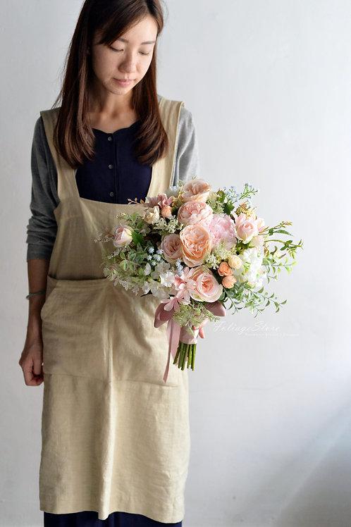 牡丹英倫庭園玫瑰絲花球 - 香檳 X 粉白系列
