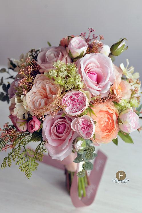 牡丹庭園玫瑰絲花球 - 桃粉 X 粉橙系列