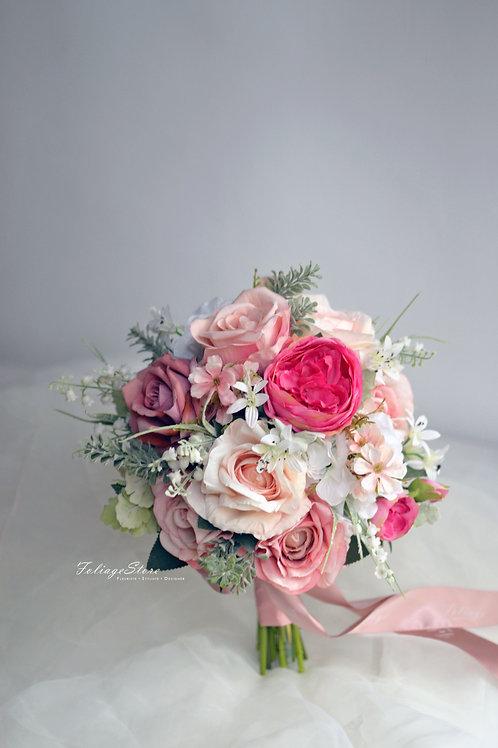 庭園玫瑰絲花球 - 祼粉/桃粉系列
