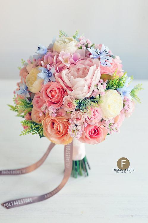 牡丹繡球玫瑰絲花球 - 香檳粉 X 橙粉系列