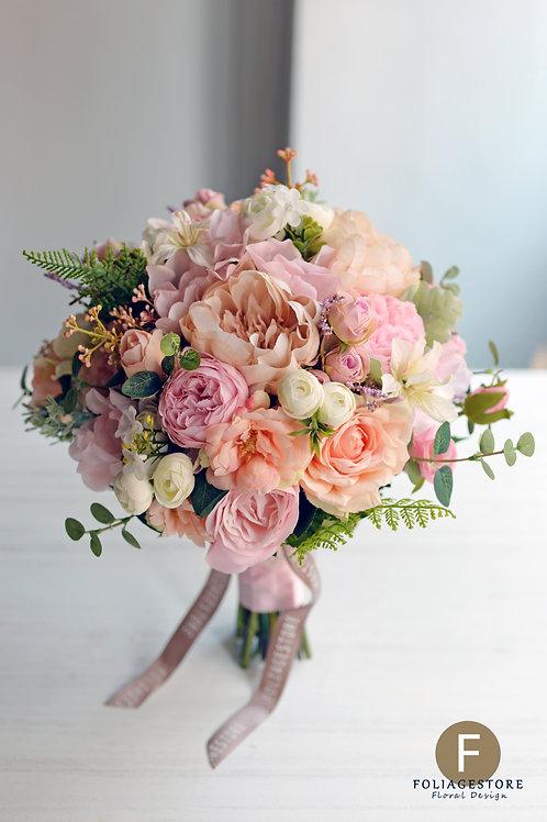 牡丹庭園玫瑰絲花球 - 橙粉 X 粉紅系列