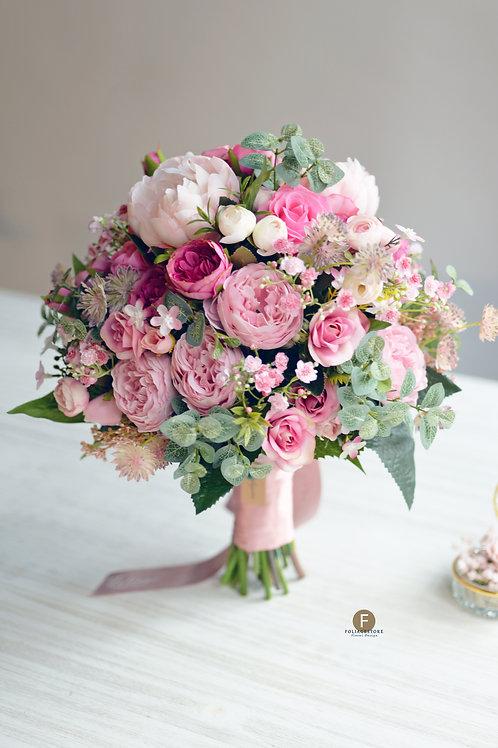 庭園玫瑰牡丹絲花球 - 粉紅 X 淺粉系列